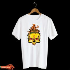 Fire Skeleton Graphic Printed Poly Cotton Round Neck Half Sleeves T-Shirt For Men's (White)