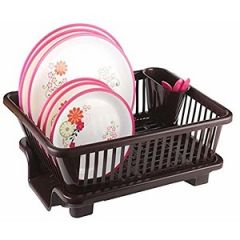 3 in 1 Large Sink Set Dish Rack Drainer with Tray For Kitchen