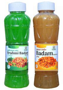 Natraj The Right Choice Brahmi Badam Sharbat & Badam Sharbat Syrup (Pack of 2 x 750 ml Bottle)