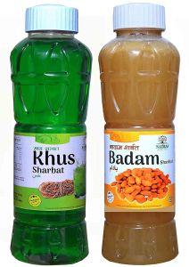 Natraj The Right Choice Khus Sharbat & Badam Sharbat Syrup (Pack of 2 x 750 ml Bottle)