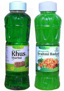 Natraj The Right Choice Khus Sharbat & Brahmi Badam Sharbat Syrup (Pack of 2 x 750 ml Bottle)