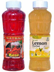 Natraj The Right Choice Rose Sharbat & Lemon Sharbat Syrup (Pack of 2 x 750 ml Bottle)
