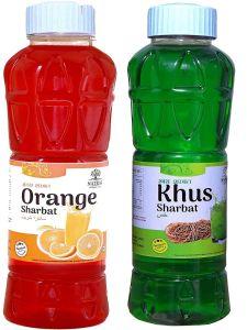 Natraj The Right Choice Khus Sharbat & Orange Sharbat Syrup (Pack of 2 x 750 ml Bottle)