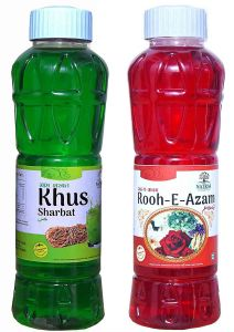 Natraj The Right Choice Khus Sharbat & Rooh-E-Azam Sharbat Syrup (Pack of 2 x 750 ml Bottle)