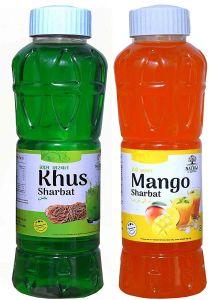 Natraj The Right Choice Khus Sharbat & Mango Sharbat Syrup (Pack of 2 x 750 ml Bottle)