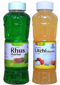 Natraj The Right Choice Khus Sharbat & Litchi Sharbat Syrup (Pack of 2 x 750 ml Bottle)