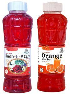 Natraj The Right Choice Rooh-E-Azam Sharbat & Orange Sharbat Syrup (Pack of 2 x 750 ml Bottle)