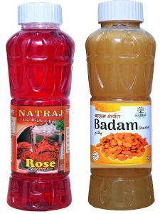 Natraj The Right Choice Rose Sharbat & Badam Sharbat Syrup (Pack of 2 x 750 ml Bottle)