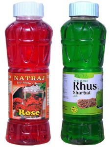 Natraj The Right Choice Rose Sharbat & Khus Sharbat Syrup (Pack of 2 x 750 ml Bottle)