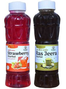 Natraj The Right Choice Strawberry Sharbat & Ras Jeera Sharbat Syrup (Pack of 2 x 750 ml Bottle)