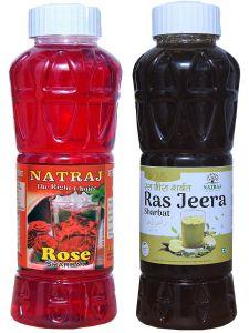 Natraj The Right Choice Rose Sharbat & Ras Jeera Sharbat Syrup (Pack of 2 x 750 ml Bottle)