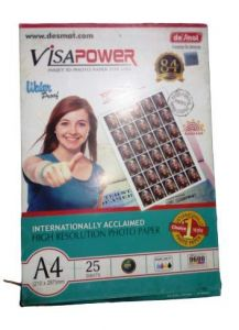 Desmat Brilliant And Full Color Output Visapower A4 Photo Paper (260 GSM, 25 Sheets) (Pack of 1)