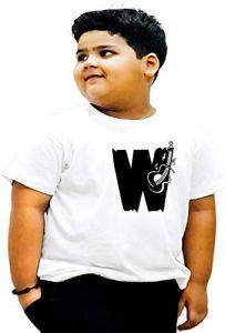 Round Neck W-Alphabet Printed Regular Fit T-shirts For Kids
