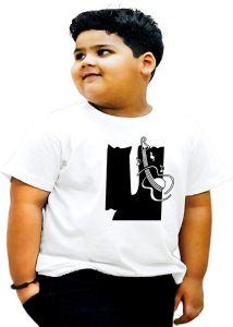 Round Neck U-Alphabet Printed Regular Fit T-shirts For Kids
