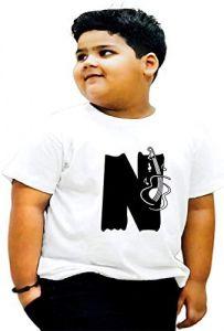 Round Neck N-Alphabet Printed Regular Fit, Half Sleeves T-shirts For Kids