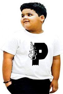 Stylish Round Neck P-Alphabet Printed Regular Fit, Half Sleeves T-shirts For Kids
