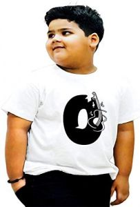 Trendy & Casual Kids O-Alphabet Printed Design T-shirts For (White)