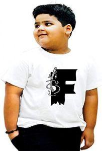 Stylish Regular Fit F-Alphabet Printed Design T-shirts For kids
