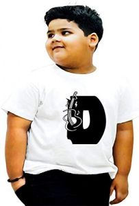 Solid Regular Fit D-Alphabet Printed Half Sleeves T-shirts For Kids