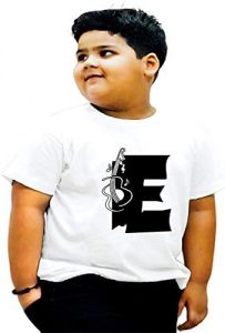 Regular Fit & Casual E-Alphabet Printed Half Sleeves T-shirts For Kids