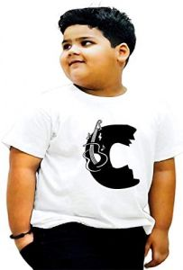 Regular Fit & Casual C-Alphabet Printed Half Sleeves T-shirts For Kids