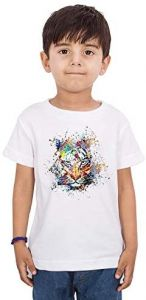 Trendy Colorful-Lion Round Neck, Half Sleeves Printed T-shirts For kids