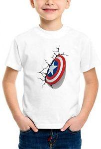 Trendy Designs Captain America Printed Regular Wear Half Sleeves T-shirts For Kids