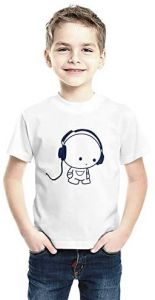 Casual & Stylish Listening-Music Printed Round Neck, Half Sleeves T-shirts for kids