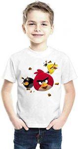 Casual & Stylish, Regular Wear Angree-Birds Printed Half Sleeves T-shirts for kids