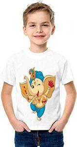 Regular Wear, Half Sleeves Dancing-Ganesh Printed T-shirts For Kids