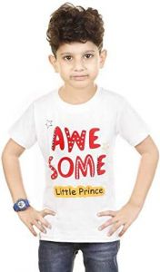 Regular Wear Kids Awesome Printed Round Neck, Half Sleeves T-Shirts Wear With Jeans, Denims, Lower