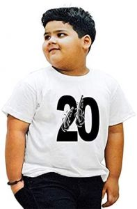 Stylish 20-Lucky-Number Printed Round Neck T-shirts For Kids