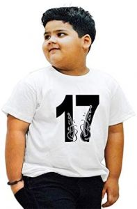 Stylish 17-Lucky-Number Round NeckPrinted T-shirts For Kids