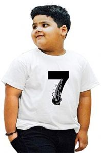 Stylish 7-Lucky-Number Half Sleeves Printed T-shirts For Kids