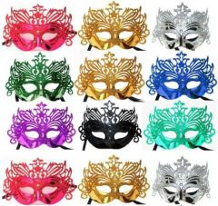 PTCMART Shining Plated Party Mask Wedding Props Masquerade Mardi Gras Mask Party Mask (Multicolor, Pack of 12)