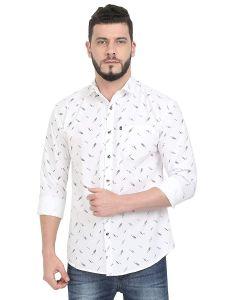 AIDAN PAUL Printed Slim Fit Casual Shirts & Semi Formals For Men's (White) (Pack of 1)