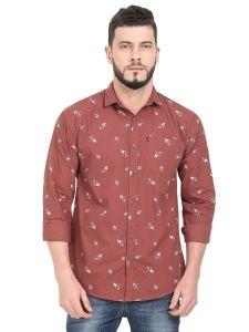 AIDAN PAUL Printed Slim Fit Casual Shirts & Semi Formals For Men's (Chocolate) (Pack of 1)