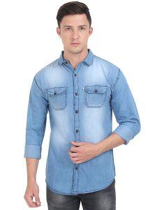 AIDAN PAUL Comfortable Slim Fit Casual Denim Shirts For Men's (Blue) (Pack of 1)
