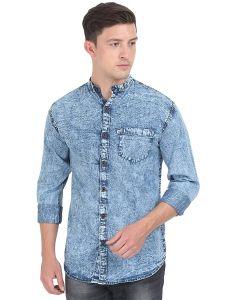AIDAN PAUL Comfortable Slim Fit Denim Casual Shirts For Men's (Blue) (Pack of 1)