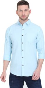 Aidhan Paul Comfortable, Fashionable & Regular Fit Solid Cut Away Collar Casual Shirt For Men's (Light Blue) (Pack of 1)