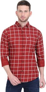 Aidhan Paul Comfortable, Fashionable & Regular Fit Checkered Print Cut Away Collar Casual Shirt For Men's (Pack of 1)