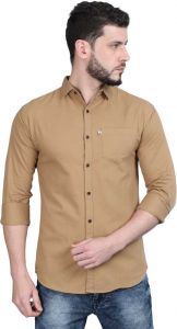 Aidhan Paul Comfortable, Fashionable & Regular Fit Solid Cut Away Collar Casual Shirt For Men's (Beige) (Pack of 1)