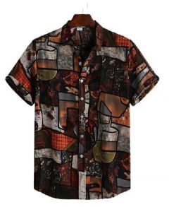 Stylish and Fashionable Regular Fit Printed Cotton Short Sleeves Casual Shirt For Men's (Multi-Color)