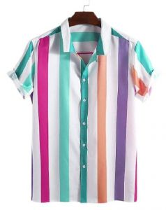 Stylish and Fashionable Regular Fit Striped Printed Cotton Short Sleeves Casual Shirt For Men's