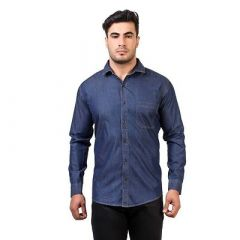 Comfortable and Stylish Slim Fit Self Printed Cotton Denim Shirt For Men's (Pack of 1)