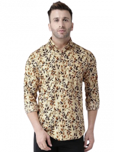 Men's Printed Cotton Blend Stylish Full Sleeves Hangup Casual Shirt For Party Wear and Festival (Pack of 1)