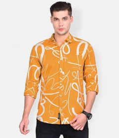 Slim-Fit Cotton Abstract Printed Full Sleeve Shirt For Men's (Yellow) (Pack of 1)