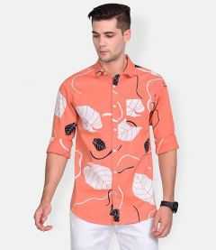 Cotton Floral Printed Slim-Fit Full Sleeve Shirt For Men's (Peach) (Pack of 1)