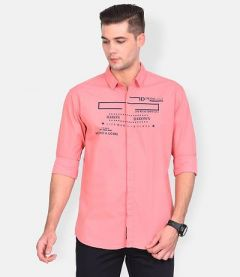 Cotton Creative Printed Slim-Fit Full Sleeve Shirt For Men's (Pink) (Pack of 1)