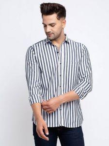 Elegant Cotton Slim Fit Striped Full Sleeve Shirt For Men's (Black & White) (Pack of 1)